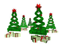Five green design pines and many gifts Royalty Free Stock Photos