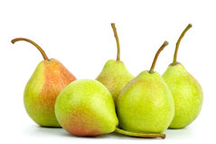 Five green pears Stock Photos
