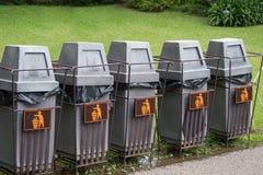 Five grey bin Stock Photo
