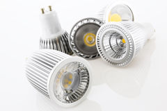 Five GU10 LED lamps with different designs of the cooling Stock Photo