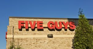 Five Guys Burgers and Fries Sign Stock Images