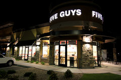 Five Guys Burgers at night Stock Photography