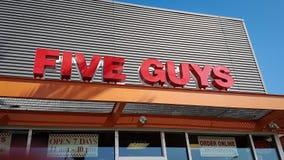 Five Guys restaurant. Five Guys hamburger restaurant in Los Angeles California stock photos