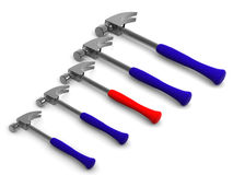 Five hammers. 3d Royalty Free Stock Photography