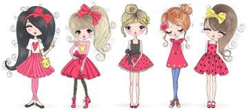 Free Five Hand Drawn Beautiful Cute Cartoon Amazing Fashion Girls. Royalty Free Stock Image - 160756646