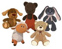 Five hand-drawn plush toys, cute and three-dimensional Royalty Free Stock Photography