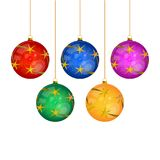 Five Hanged Multi-colored Christmas Tree Balls Isolated Royalty Free Stock Images