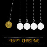 Five hanging christmas ball toy. Dash line. White and gold glitter. Perpetual motion. Black background. Royalty Free Stock Images