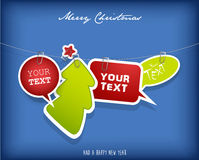 Five hanging text boxes with Christmas tree. And red star Royalty Free Stock Photography