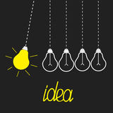 Five hanging yellow light bulbs. Perpetual motion. Idea concept. Grey background. Flat design Stock Photography