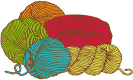 Five hanks of yarn Royalty Free Stock Photography