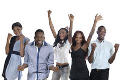 Five happy african people cheering Stock Photo