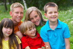 Five happy children Stock Photography