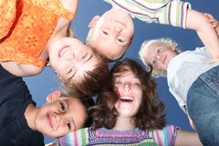 Five Happy Kids Outdoors Stock Photography