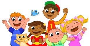 Five happy kids smiling vector illustration