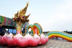 Five head rainbow of Naga or naga or serpent statue in Srisamarn temple Stock Image
