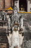 Five headed dragon (Naga) statue of Wat Chedi Luan in Chiang Mai,Thailand. Stock Photography