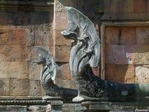 Five headed old Naga sculptures at Prasat Hin Phanom Rung, ancient Khmer temple in Buriram province Royalty Free Stock Image