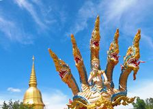 Five heads  Naga statue. Mahasarakham in Thailand Stock Image