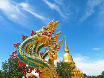 Five heads  Naga statue. Mahasarakham in Thailand Royalty Free Stock Images