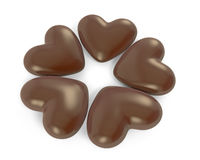 Five heart shaped chocolate candies Royalty Free Stock Photo