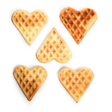 Five heart shaped waffles Stock Photography