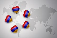 Five hearts with national flag of armenia on a world map background. Concept.3D illustration Royalty Free Stock Images
