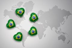 Five hearts with national flag of brazil on a world map background. Concept.3D illustration Royalty Free Stock Photography