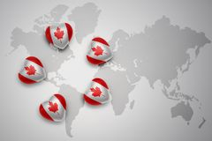 Five hearts with national flag of canada on a world map background. Concept.3D illustration Stock Photos