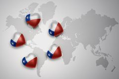 Five hearts with national flag of chile on a world map background. Concept.3D illustration Stock Photos
