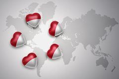 Five hearts with national flag of indonesia on a world map background. I love indonesia.concept Stock Photos