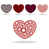 Five hearts. Vector illustration of five hearts made of circles Royalty Free Stock Photo