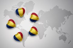 Free Five Hearts With National Flag Of Romania On A World Map Background. Royalty Free Stock Photo - 103956305