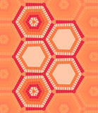 Five hexagons text template of red and orange colors Royalty Free Stock Images