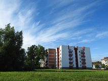 Beautiful white house and nice cloudy sky, Lithuania Royalty Free Stock Photo