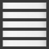 Five horizontal vector roll blank banners on black Royalty Free Stock Images
