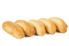 Five hot dog buns Stock Photo