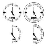 Five Hours Clock on white background. Five o`clock. Four options stock illustration