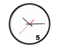 Five hours Concept. Clock with focus on 5 sign Royalty Free Stock Photo