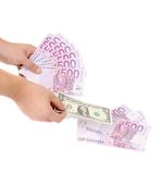 Five hundred bills in hand as fan. Stock Photography