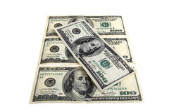 Five hundred dollar bills arranged Royalty Free Stock Photography