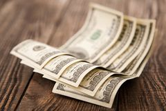 Five hundred dollars close-up Stock Photos