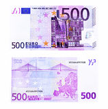Five hundred euro. Front and back side of five hundred euro note stock image