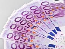 Five hundred euro bank notes. Several five hundred euro bank notes on white background Stock Photography