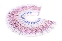 Five  hundred Euro bank notes fanned Royalty Free Stock Photo