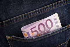 Five hundred euro banknote in back pocket of blue jeans Royalty Free Stock Photos