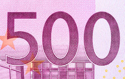 Five hundred euro banknote in a macro shot. High resolution photo Royalty Free Stock Photo