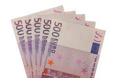 Five Hundred Euro Banknotes. Five five hundred euro banknotes lika a fan Stock Photo