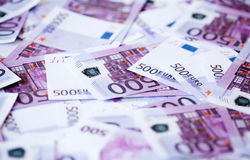 Five hundred euro banknotes. As a money abstract background Stock Photos