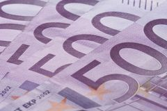 Five hundred euro banknotes background. Close-up 500 euro banknotes background Stock Photos